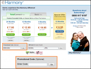 Using eharmony promo code