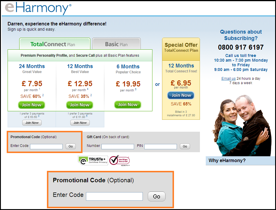 How much is eharmony a month uk