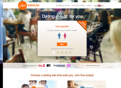 Just Singles Sign Up Page