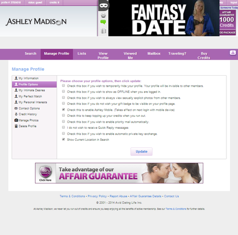 How much is ashley madison cost